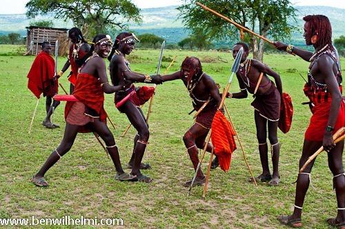Ben Wilhelmi: jumping and posing Maasai warriors, northern